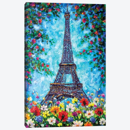 Eiffel Tower In Spring Flowers Canvas Print #VRY30} by Valery Rybakow Canvas Print