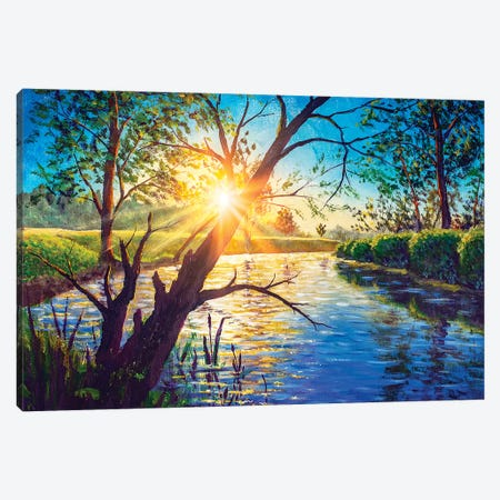 Acrylic Oil Painting Morning Dawn Sunset On River Lake. Canvas Print #VRY313} by Valery Rybakow Canvas Art