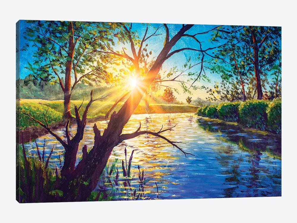 Acrylic Oil Painting Morning Dawn Sunset On River Lake. by Valery Rybakow 1-piece Canvas Art