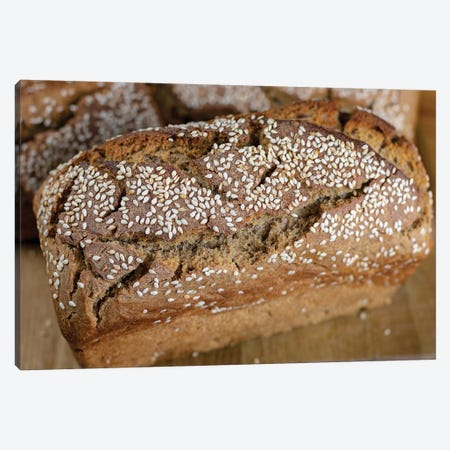 Homemade Delicious Fresh Bread With Sesame Seeds 3-Piece Canvas #VRY314} by Valery Rybakow Canvas Art Print
