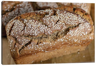 Homemade Delicious Fresh Bread With Sesame Seeds Canvas Art Print