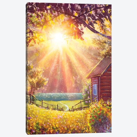 Sunny Oil Painting Summer Warm Rural Landscape With Sunbeams Syn Rays Modern Canvas Print #VRY318} by Valery Rybakow Canvas Art