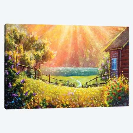 Beautiful Summer Flowers In Front Of A Wooden Village House Illuminated By Sunbeams Canvas Print #VRY319} by Valery Rybakow Canvas Wall Art
