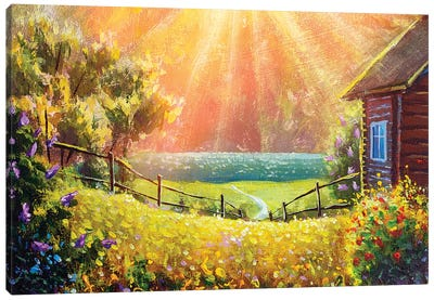 Beautiful Summer Flowers In Front Of A Wooden Village House Illuminated By Sunbeams Canvas Art Print