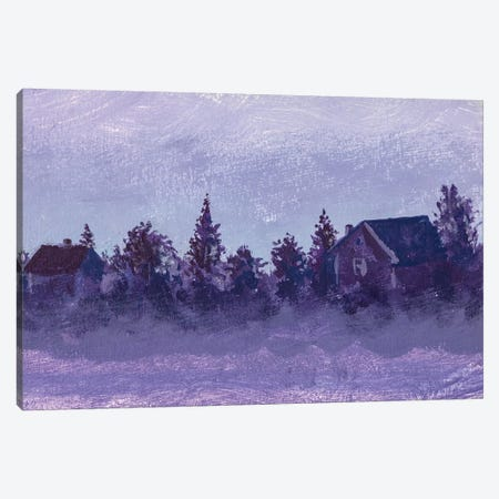 Night Rural Landscape With Old Russian Village Houses And Trees Canvas Print #VRY320} by Valery Rybakow Canvas Print