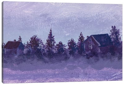 Night Rural Landscape With Old Russian Village Houses And Trees Canvas Art Print