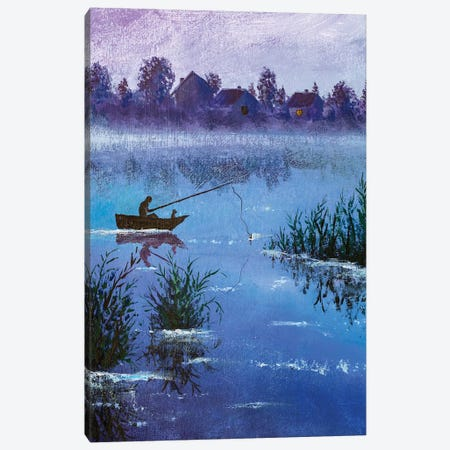 Oil Painting Night Winter Fishing On Village Rural Lake Canvas Print #VRY322} by Valery Rybakow Canvas Art Print