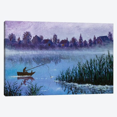 Night Fishing On Rural Village Lake Canvas Print #VRY323} by Valery Rybakow Art Print