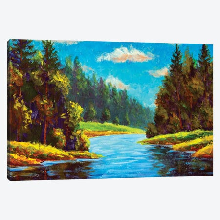 Blue River In Forest Canvas Print #VRY324} by Valery Rybakow Canvas Art