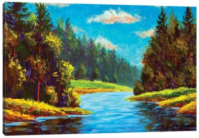 Blue River In Forest Canvas Art Print
