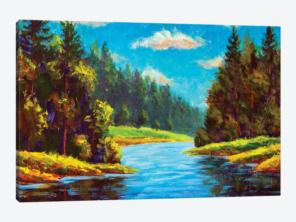Blue River In Forest by Valery Rybakow 1-piece Canvas Art