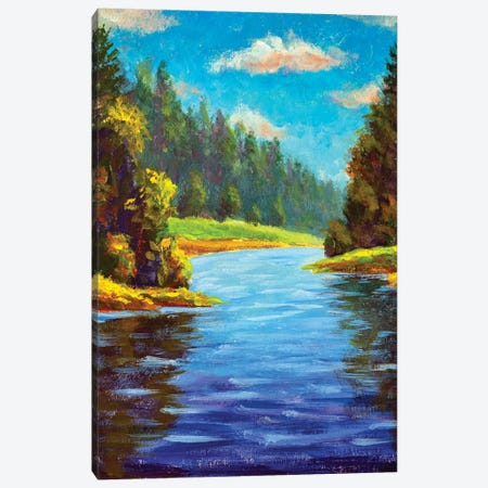 Summer Forest Landscape With River Canvas Print #VRY325} by Valery Rybakow Canvas Art