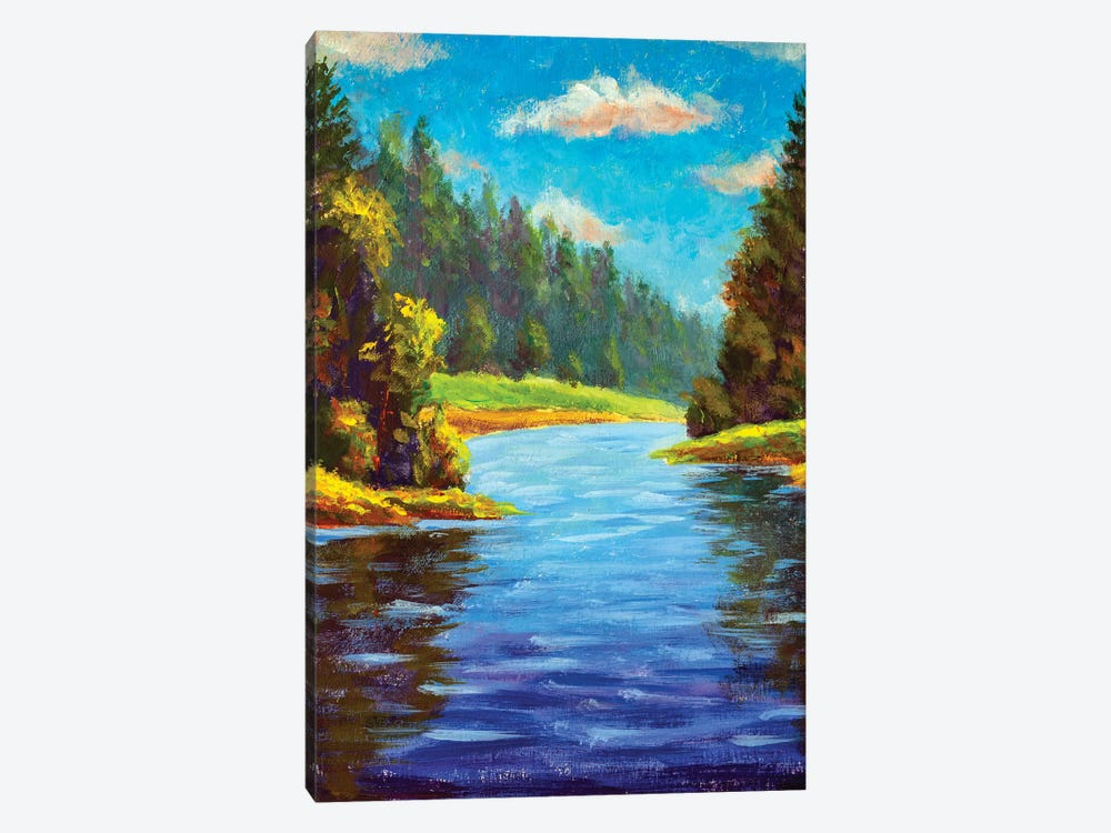 Summer Forest Landscape With River by Valery Rybakow 1-piece Canvas Print