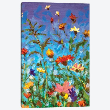 Spring Summer Red Yellow White Wildflowers On Blue Sky Canvas Print #VRY330} by Valery Rybakow Canvas Wall Art