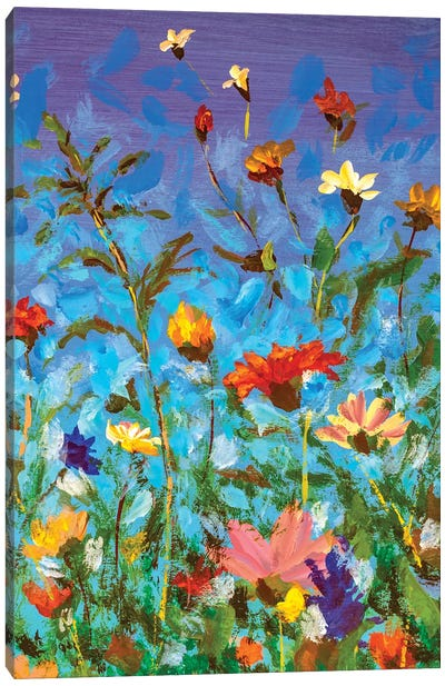 Spring Summer Red Yellow White Wildflowers On Blue Sky Canvas Art Print