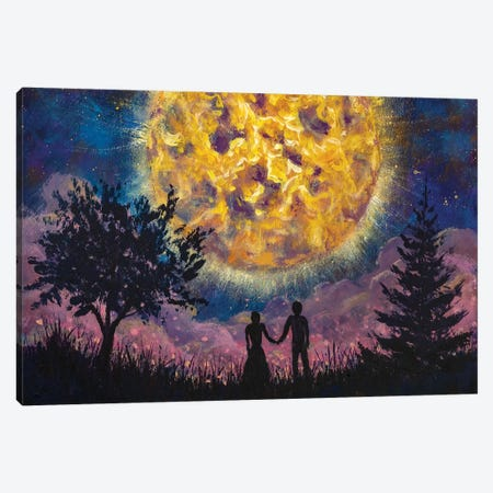 Lovers Man Girl Against Background Beautiful Night Sky And Large Luminous Planet Canvas Print #VRY335} by Valery Rybakow Art Print