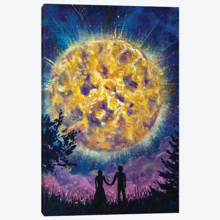 Silhouette Of Guy And Girl In Love Couple On Background Of Beautiful Starry Night Landscape. Canvas Print #VRY336} by Valery Rybakow Art Print
