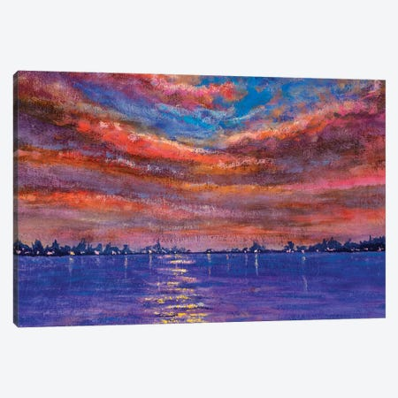 Beautiful Summer Purple Pink Sunset Sunrise Over The Sea Canvas Print #VRY337} by Valery Rybakow Canvas Art Print