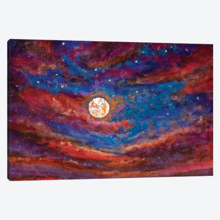 Beautiful Purple Clouds, A Large Bright Moon In The Starry Sky Canvas Print #VRY338} by Valery Rybakow Canvas Art