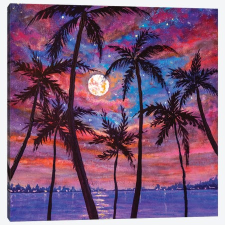 Beautiful Relaxing Landscape: Palm Trees, Pink Purple Sunset Over Sea And Large Moon Canvas Print #VRY339} by Valery Rybakow Canvas Wall Art