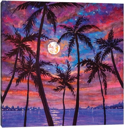 Beautiful Relaxing Landscape: Palm Trees, Pink Purple Sunset Over Sea And Large Moon Canvas Art Print