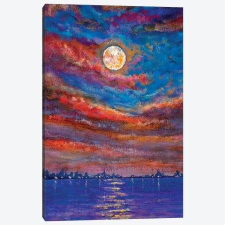 Beautiful Summer Sunset Over Sea Canvas Print #VRY340} by Valery Rybakow Canvas Art Print