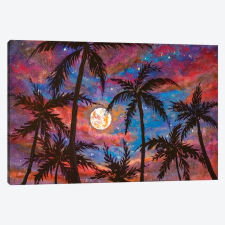 Beautiful Palm Trees, Pink Purple Sunset And Large Moon Canvas Print #VRY341} by Valery Rybakow Canvas Art Print