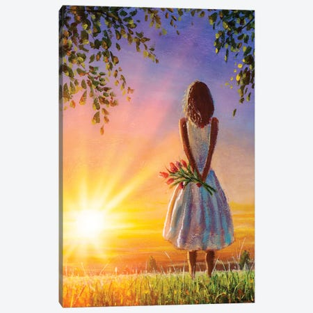 Woman Girl With Flowers On Background Of Summer Warm Evening. Canvas Print #VRY346} by Valery Rybakow Canvas Art