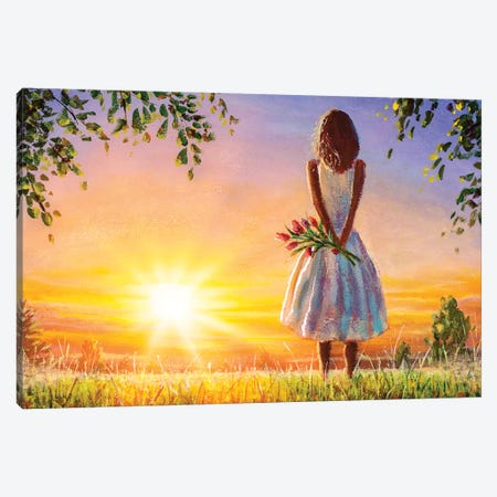 Beautiful Woman With Bouquet Of Flowers In Summer Field Admires Colorful Sunset Dawn. Canvas Print #VRY347} by Valery Rybakow Canvas Art