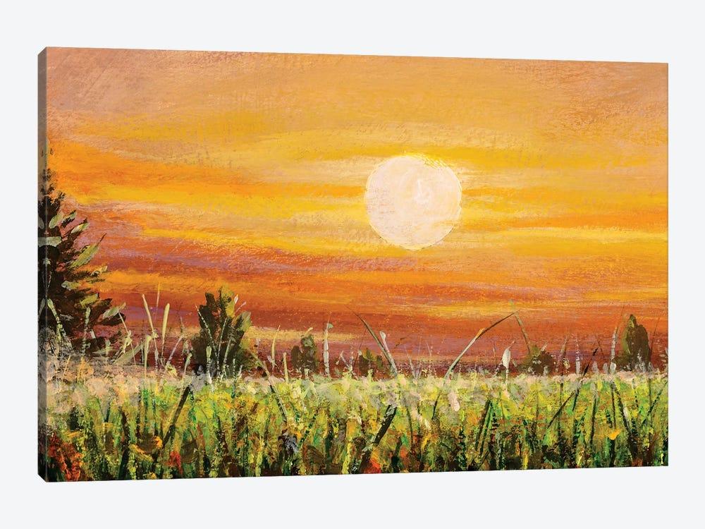 Beautiful Warm Sunset Dawn Over Green Field by Valery Rybakow 1-piece Canvas Wall Art