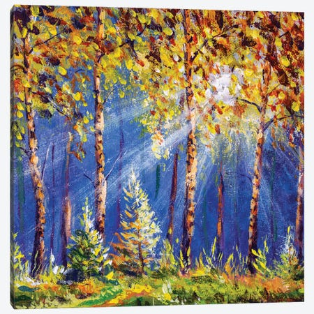 Autumn Trees In Wood Gold Orange Forest Canvas Print #VRY352} by Valery Rybakow Canvas Wall Art