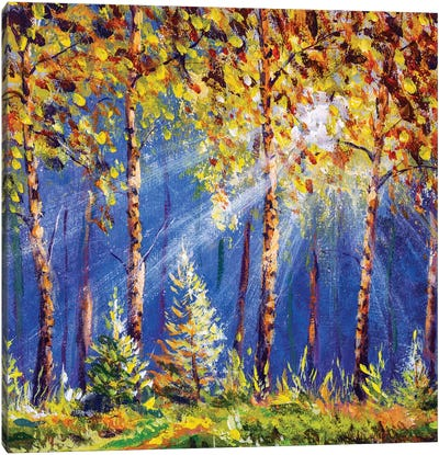 Autumn Trees In Wood Gold Orange Forest Canvas Art Print