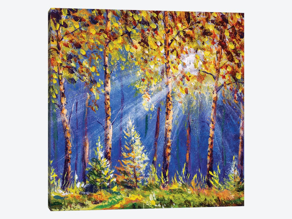 Autumn Trees In Wood Gold Orange Forest by Valery Rybakow 1-piece Canvas Art Print