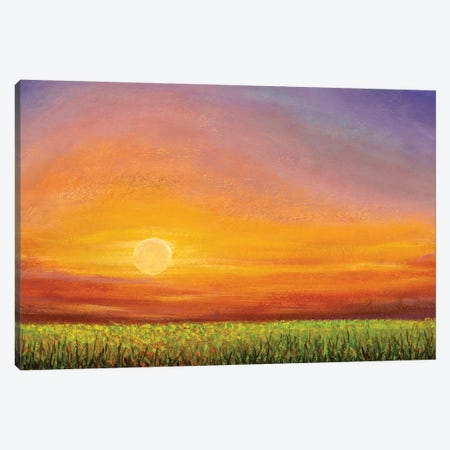 Dawn Sunset Over A Green Field Canvas Print #VRY353} by Valery Rybakow Canvas Art