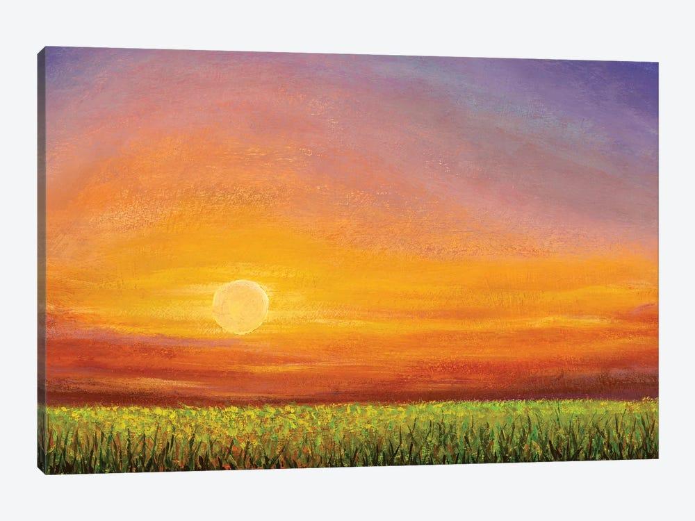 Dawn Sunset Over A Green Field by Valery Rybakow 1-piece Canvas Wall Art