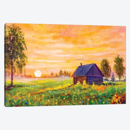 Oil Painting Old Rural Farmhouse In The Field Canvas Print #VRY355} by Valery Rybakow Art Print