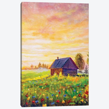 Old Rural House On Field Flowers Canvas Print #VRY356} by Valery Rybakow Art Print