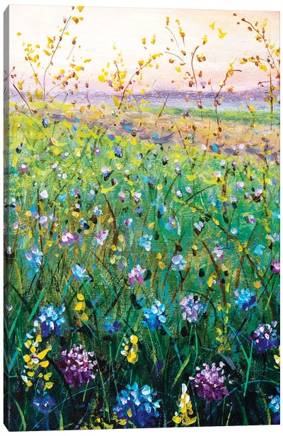 Beautiful Flower Wildflowers Landscape Art Canvas Art Print