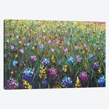 Flowers Painting, Blue Yellow Violet Flowers In Grass Canvas Print #VRY358} by Valery Rybakow Canvas Wall Art