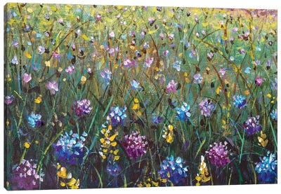 Flowers Painting, Blue Yellow Violet Flowers In Grass Canvas Art Print