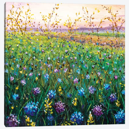 Beautiful Field Flowers On Sunset Painting Art Canvas Print #VRY359} by Valery Rybakow Canvas Artwork