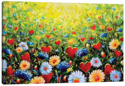 Flowers And Hearts In Dream Canvas Art Print