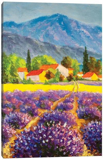 Italian Summer Countryside. Lavender Purple Field. French Tuscany Canvas Art Print