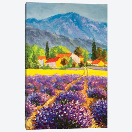 Italian Summer Countryside. Lavender Purple Field. French Tuscany Canvas Print #VRY361} by Valery Rybakow Canvas Print