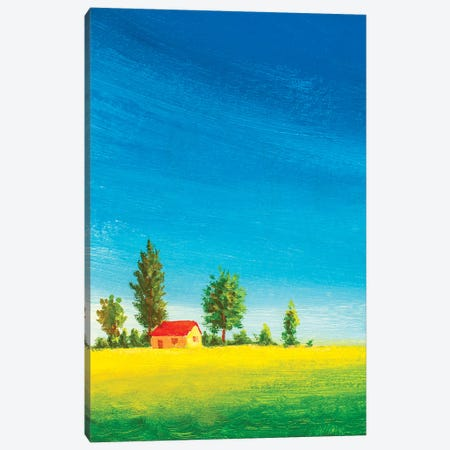 Beautiful House On Green Meadow Canvas Print #VRY364} by Valery Rybakow Canvas Wall Art