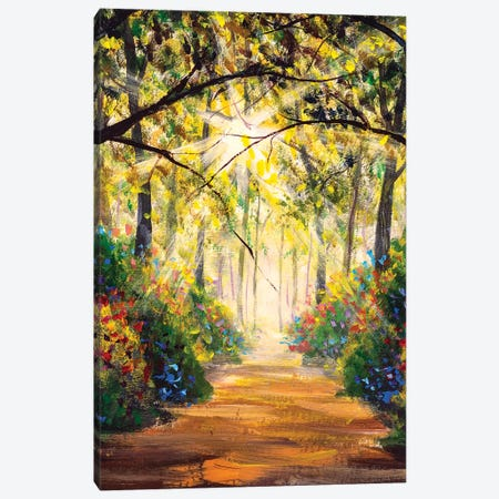 Road In Sun Summer Flowers Park Alley Canvas Print #VRY366} by Valery Rybakow Canvas Art