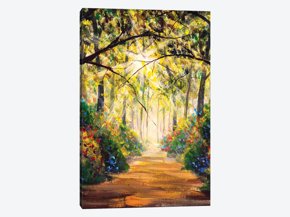 Road In Sun Summer Flowers Park Alley by Valery Rybakow 1-piece Canvas Artwork