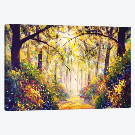Sunny Forest Wood Trees Canvas Print #VRY367} by Valery Rybakow Canvas Wall Art