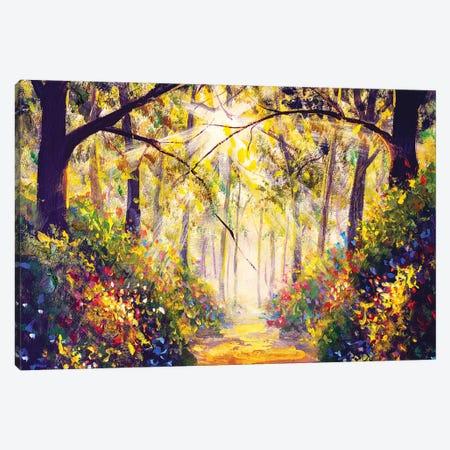 Sunny Forest Wood Trees Canvas Print #VRY367} by Valery Rybakow Canvas Wall Art