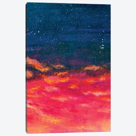 Beautiful Warm Sky Turning Into Starry Space - A Beautiful Abstract Space Landscape Canvas Print #VRY371} by Valery Rybakow Canvas Wall Art